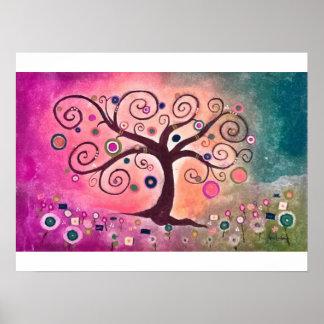 Fine Whimsical Art Tree of life Purple Green Hues Poster