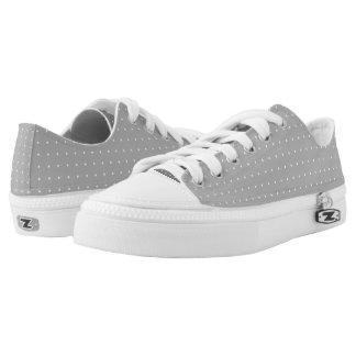 Fine White Polka Dot Grey Sneekers Low-Top Sneakers