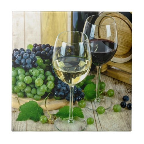 Fine Wine Aged to Perfection Ceramic Tile