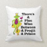 """Fine Wine Between Frog & Prince"" Throw Pillow"