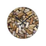 Fine Wine Corks Round Wall Clocks