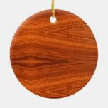 Fine Wood Grain Teak Mahogany Veneer Double-Sided Ceramic Round Christmas Ornament