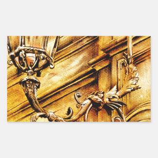 Fineart F017 del vintage Rectangular Pegatinas