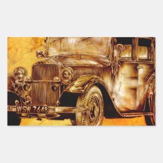Fineart retro F052 del automóvil del vintage Pegatina Rectangular