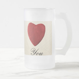 Finery background Love you Frosted Glass Beer Mug