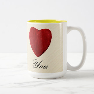 Finery background Love you Two-Tone Coffee Mug