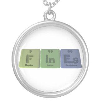 Fines-F-In-Es-Fluorine-Indium-Einsteinium.png Round Pendant Necklace