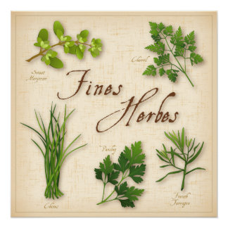 Fines Herbes, Parsley, Chives, Tarragon, Chervil, Poster