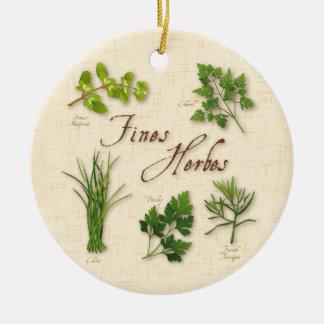 Fines Herbs Recipe, Parsley, Chives, Tarragon, Ceramic Ornament
