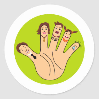 Finger Family Drawing Classic Round Sticker
