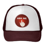Finger on the red glowing button Ask Me Hat