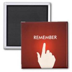Finger On The Red Glowing Button Magnet at Zazzle