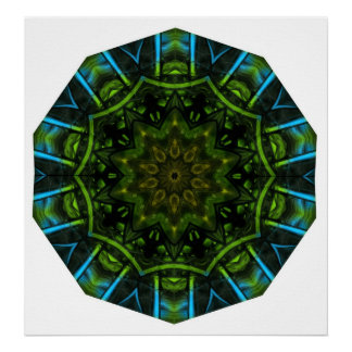 Finger Paint Blue Green Poster