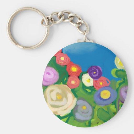 finger-paint-garden basic round button keychain