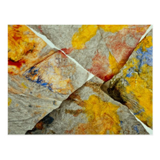 Finger paint on corners of four paper towels postcard