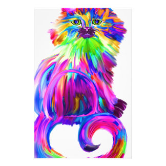 Finger painted colorful cat stationery