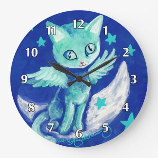 Finger Painted Kitty Cat On Moon With Stars Wallclocks
