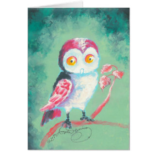 Finger Painted Owl Art Note Card