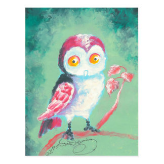 Finger Painted Owl Art Post Card