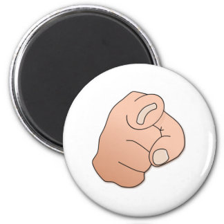 Finger Pointing at You 2 Inch Round Magnet