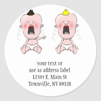 Finger Pointing Cry Baby Classic Round Sticker