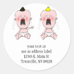 Finger Pointing Cry Baby Round Stickers