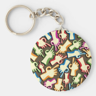 Finger pointing hands seamless pattern. keychain