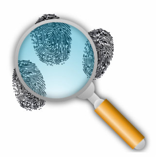 Finger Prints Under a Magnifying Glass Cutout
