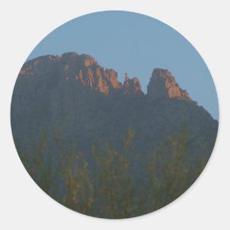 Finger Rock Sunrise Round Stickers