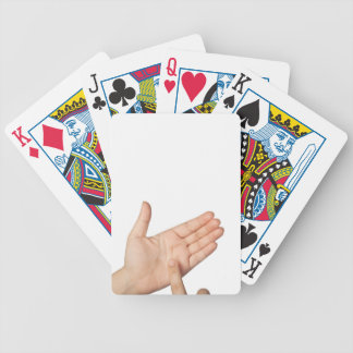 Finger tapping on imaginary smartphone bicycle playing cards
