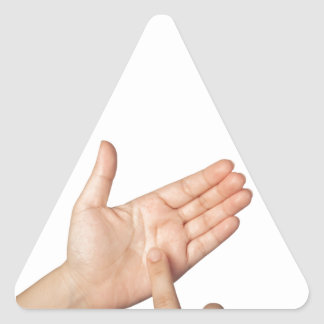 Finger tapping on imaginary smartphone triangle sticker