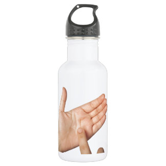 Finger tapping on imaginary smartphone water bottle