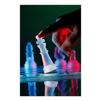 Finger tilting a chess piece on Chess Board Poster