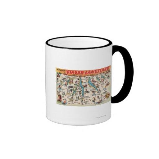Fingerlakes, New York - Detailed Map Mugs