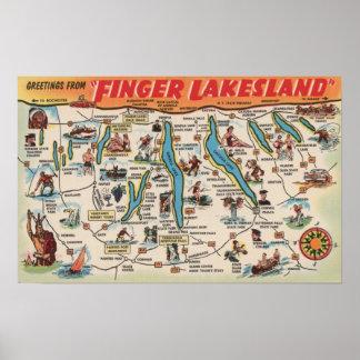 Fingerlakes, New York - Detailed Map Poster