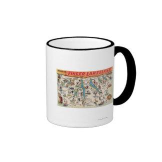 Fingerlakes, New York - Detailed Map Ringer Mug