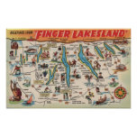 Fingerlakes, Nueva York - mapa detallado Impresiones