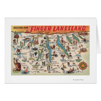 Fingerlakes, Nueva York - mapa detallado Tarjeta De Felicitación