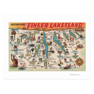 Fingerlakes, Nueva York - mapa detallado Tarjeta Postal