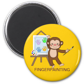 FINGERPAINTING MONKEY for Back to School Refrigerator Magnet