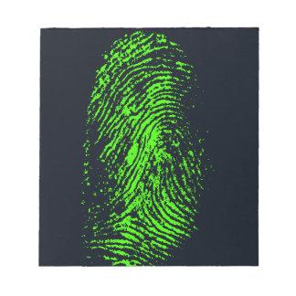 fingerprint-257038 BLACK NEON GREEN FINGERPRINT GR Notepads