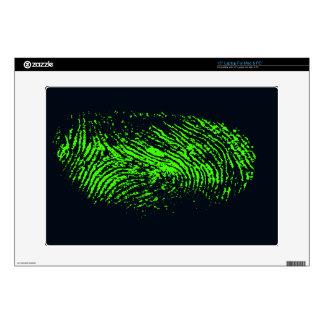 """fingerprint-257038 BLACK NEON GREEN FINGERPRINT GR 15"""" Laptop Skins"""