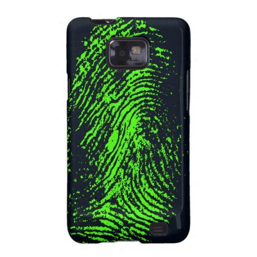 fingerprint-257038 HUELLA DACTILAR VERDE DE NEÓN N Samsung Galaxy S2 Carcasas