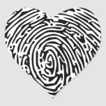 Fingerprint Background Heart Sticker