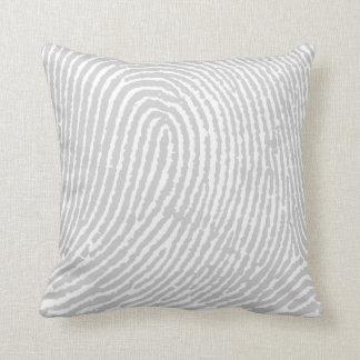 Fingerprint  Gray Throw Pillow