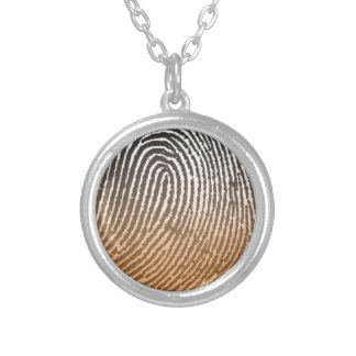 Fingerprint in Brown Silver Plated Necklace