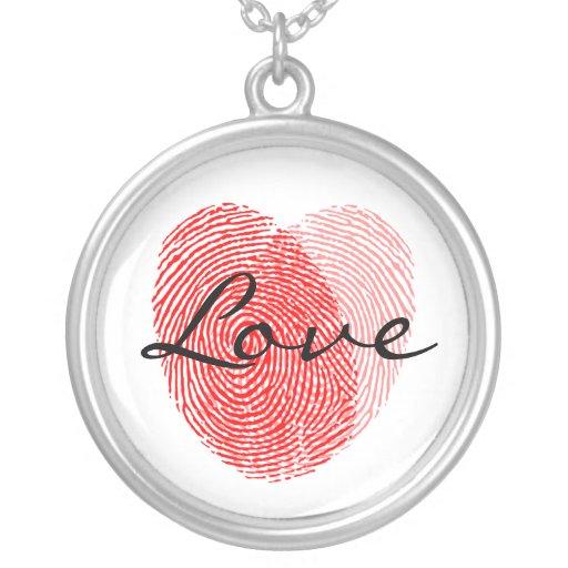 Fingerprint Love Square Keepsake Charm Round Pendant Necklace