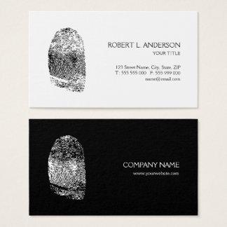 Fingerprint Private Investigator Black White Business Card