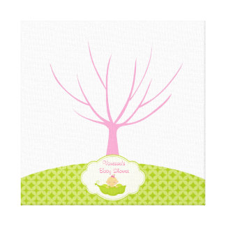 Fingerprint Tree Baby Shower Guestbook Pea Pod Canvas Print