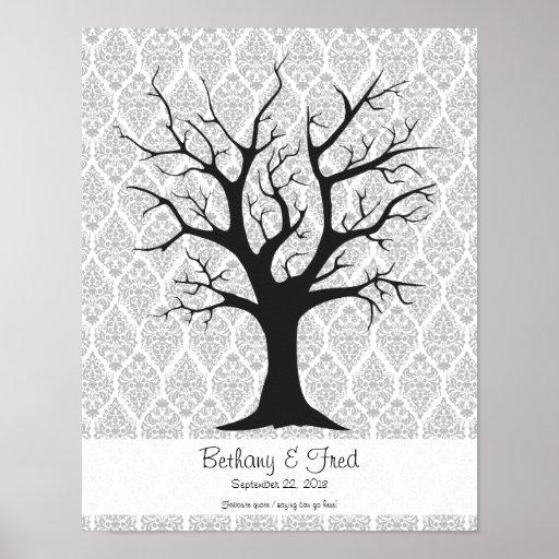 "Fingerprint Tree C with Damask - 11""x14"" Print"